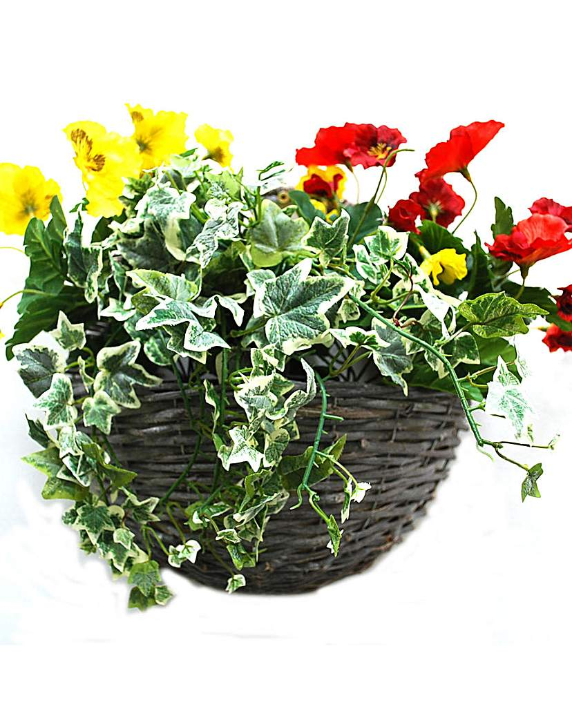 Image of Artificial Plant Pansy Wall Basket