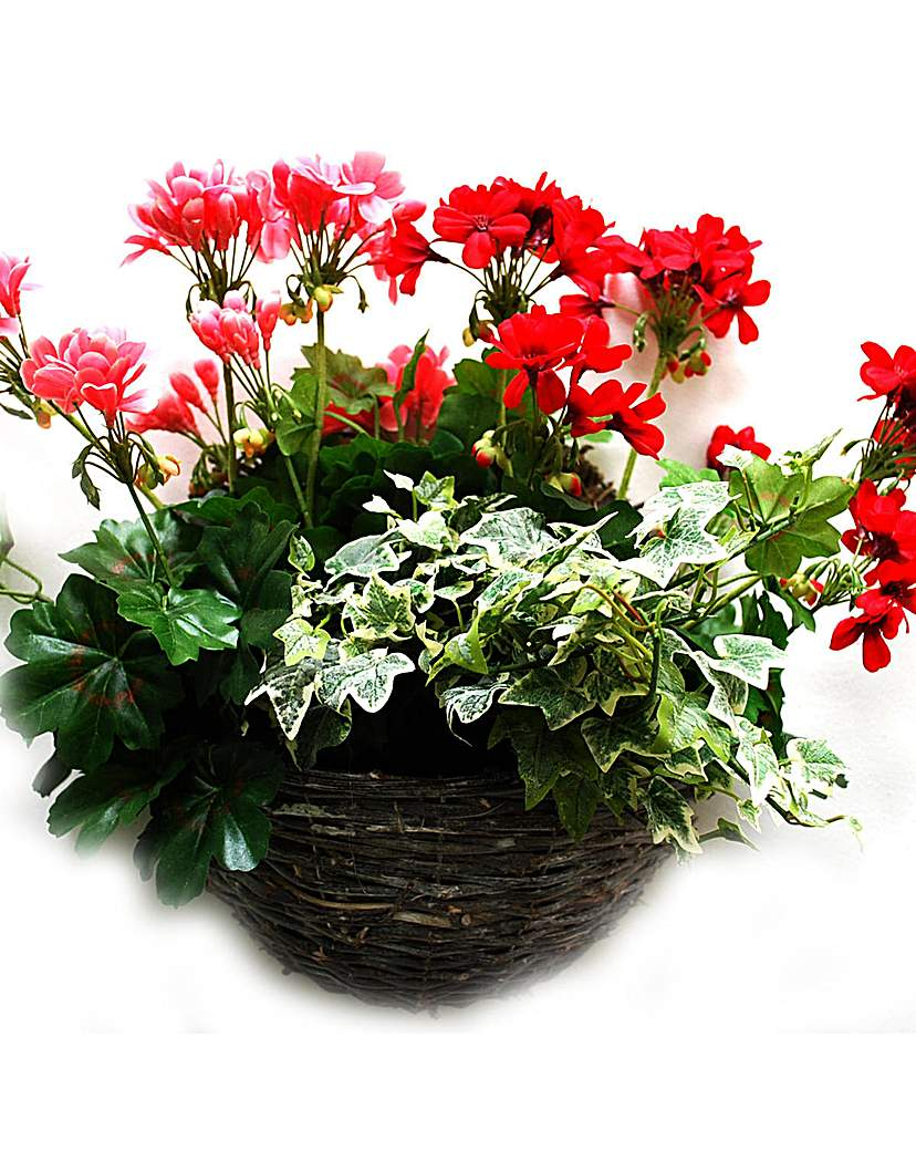 Artificial Plant Geranium Wall Basket