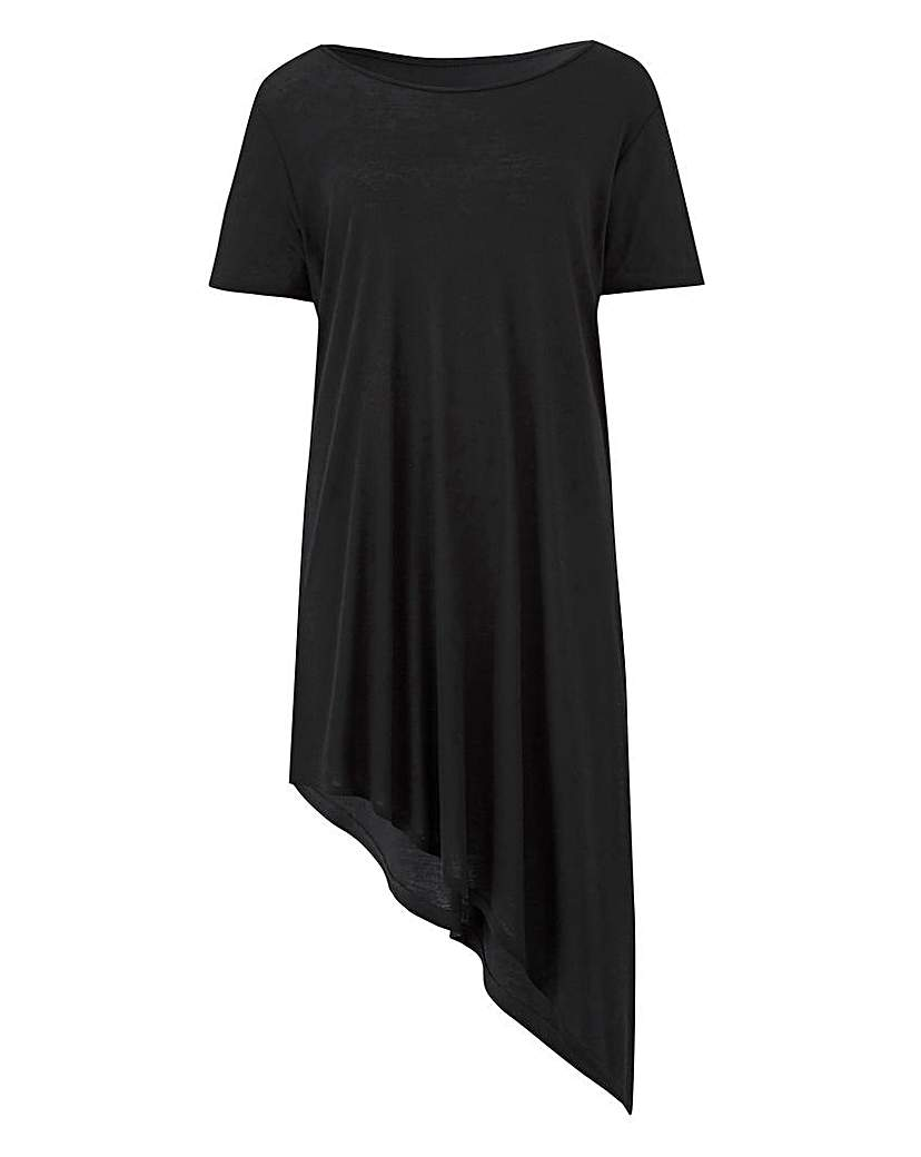 Image of Black Short Sleeve Asymmetric Tunic