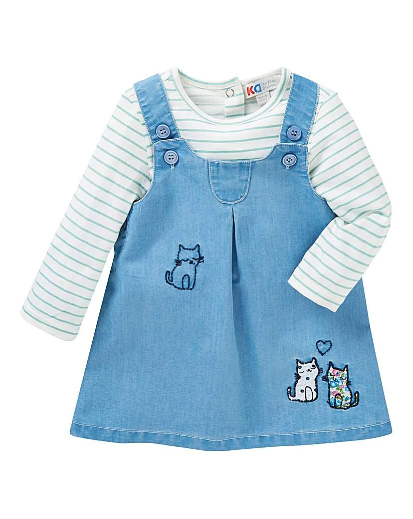 KD Baby Girl Denim Dress and T-Shirt Set.