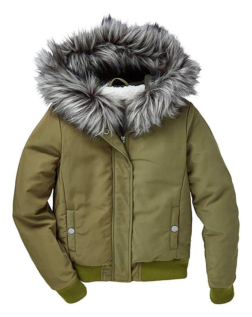 Image of KD Girls Faux Fur Hooded Bomber Coat