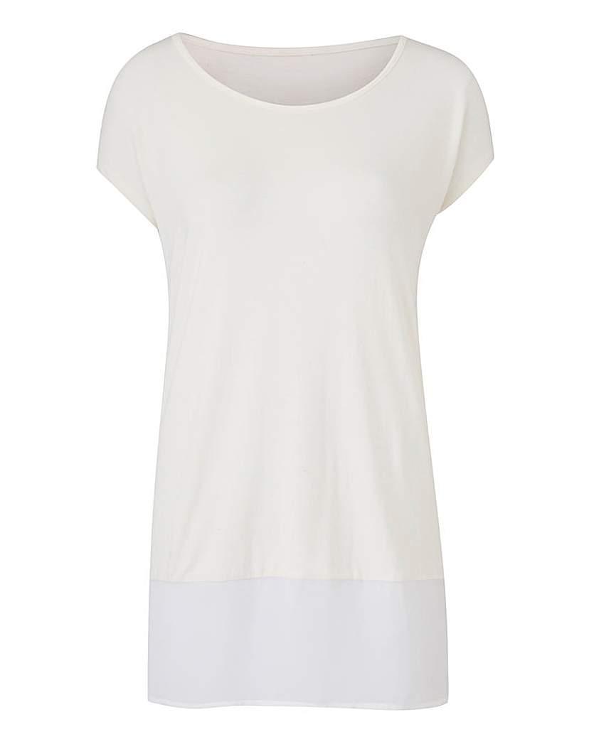 Image of Ivory Woven Hem T-Shirt
