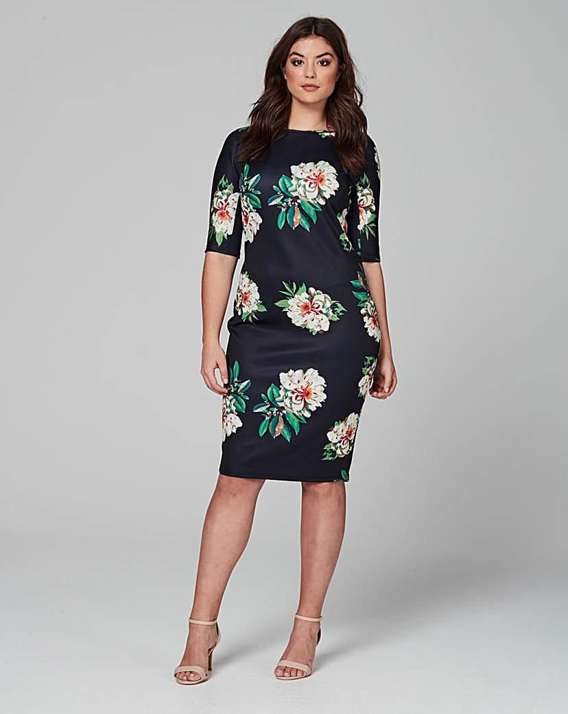 Image of Ax Paris 3/4 Sleeve Scuba Dress