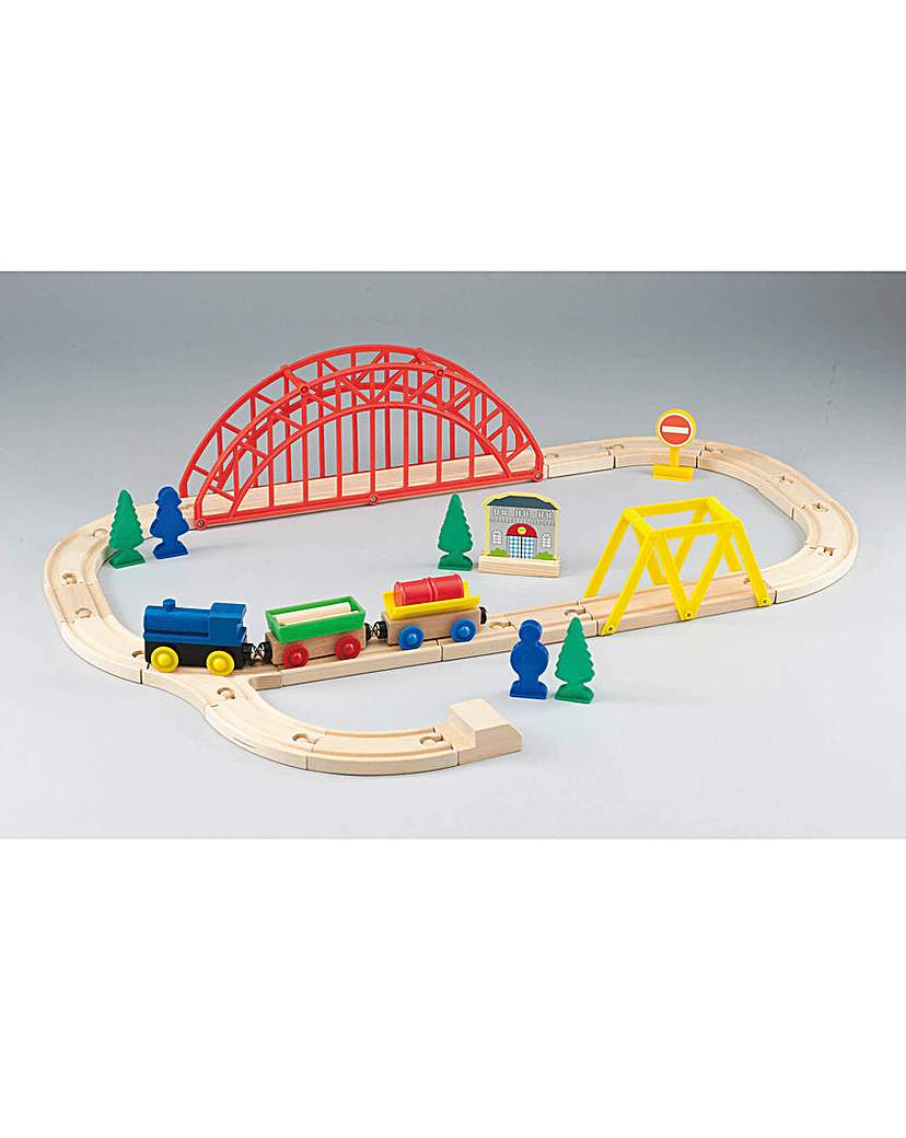 Image of 35 piece Wooden Train Set