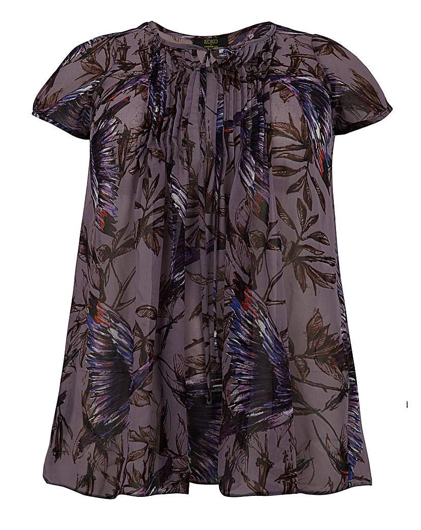 Koko Bird Print Sheer Tie Front Blouse