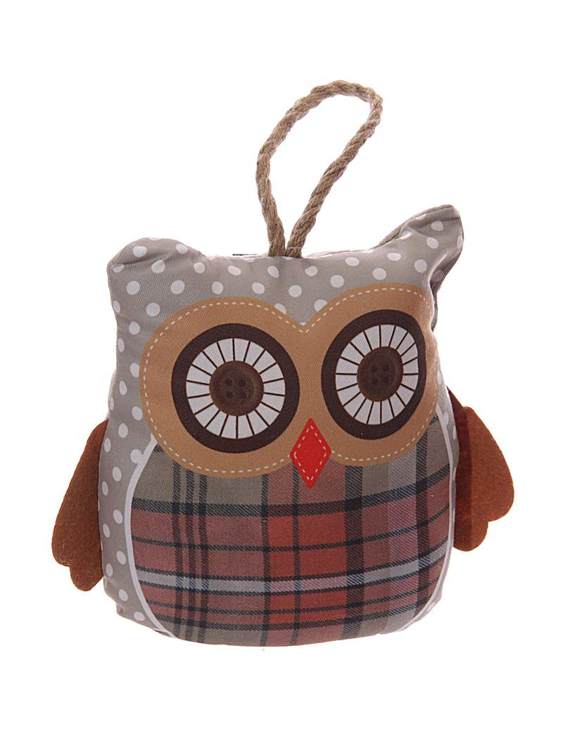 Decorative Grey Owl Polka Dot Door Stop
