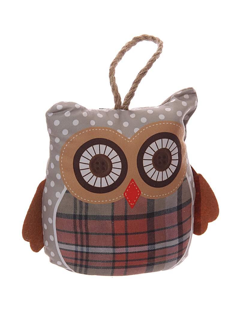Decorative Grey Owl Polka Dot Door Stop