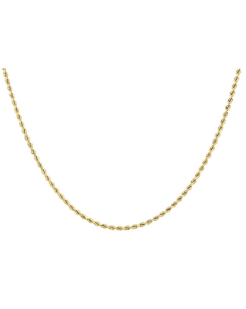 Image of 9Ct Gold 60 Diamond Cut Rope Chain