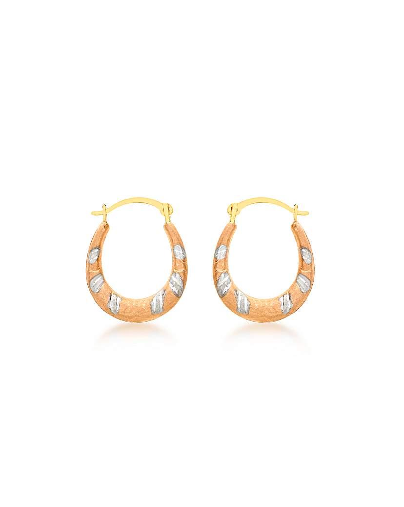9Ct Gold 3 Tone Mini Dia Cut Earrings