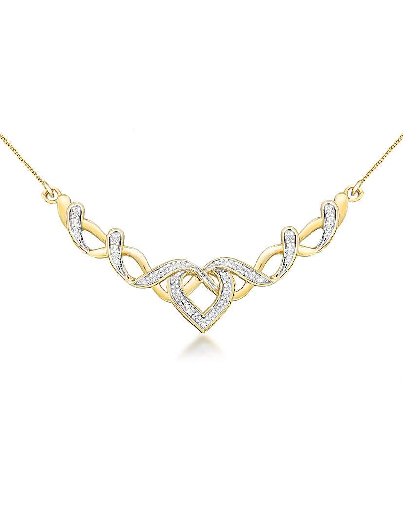 9ct Gold Diamond Heart Ribbon Necklace