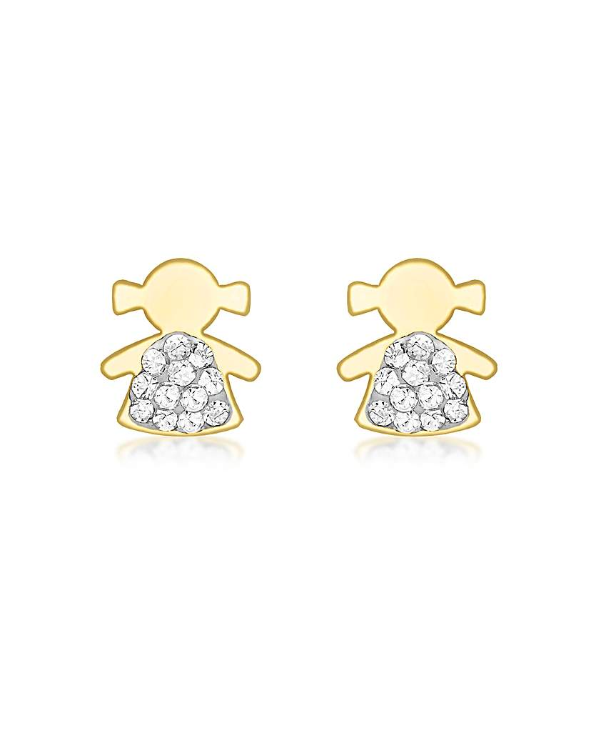 9CT Yellow Gold Pave Girl Earrings