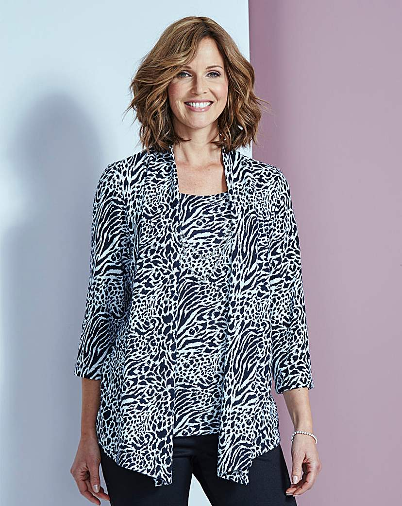 Animal Print 2-in-1 Jumper With Necklace