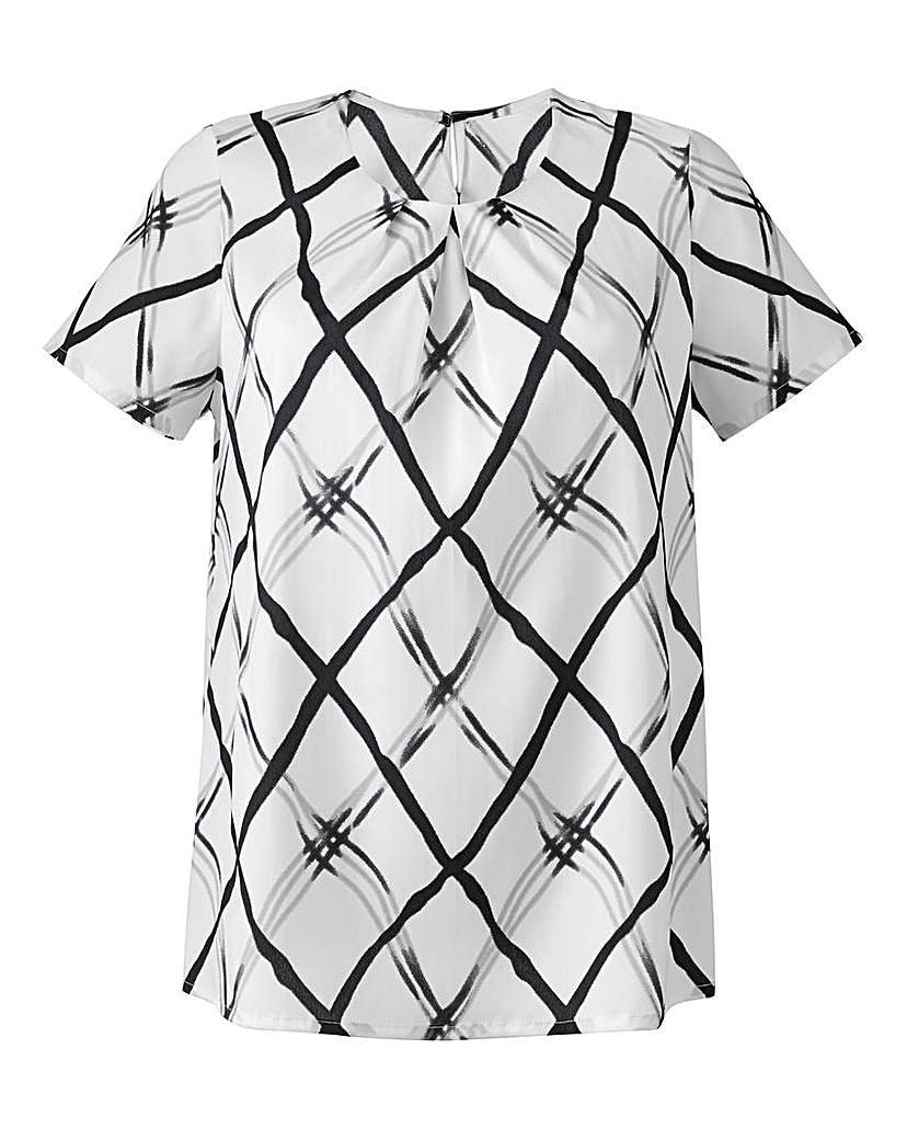 Grid Print Pleat-Neckline Modern Blouse