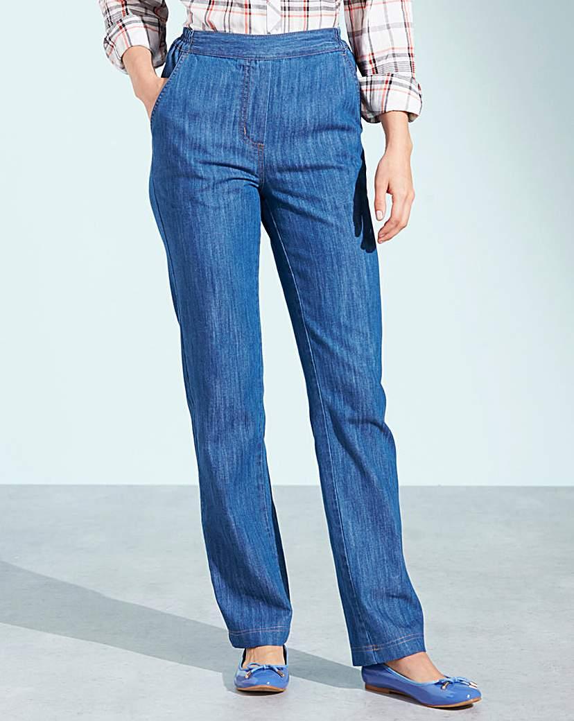 Pull-On Straight-Leg Jeans Long £18.00 AT vintagedancer.com