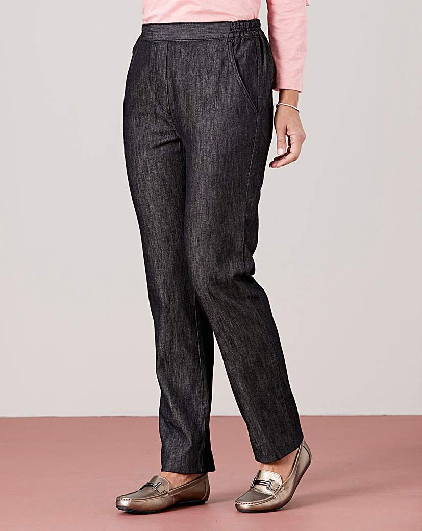 Pull-On Straight-Leg Jeans Extra Short