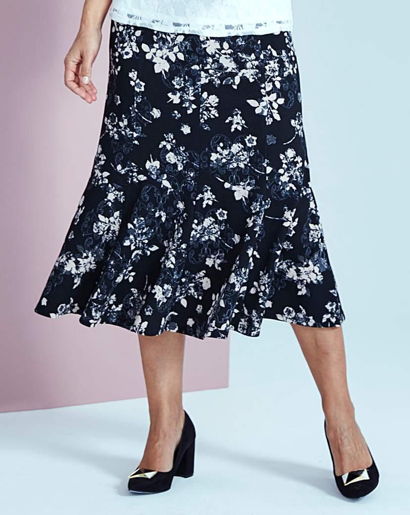 Print Textured Jersey Skirt.