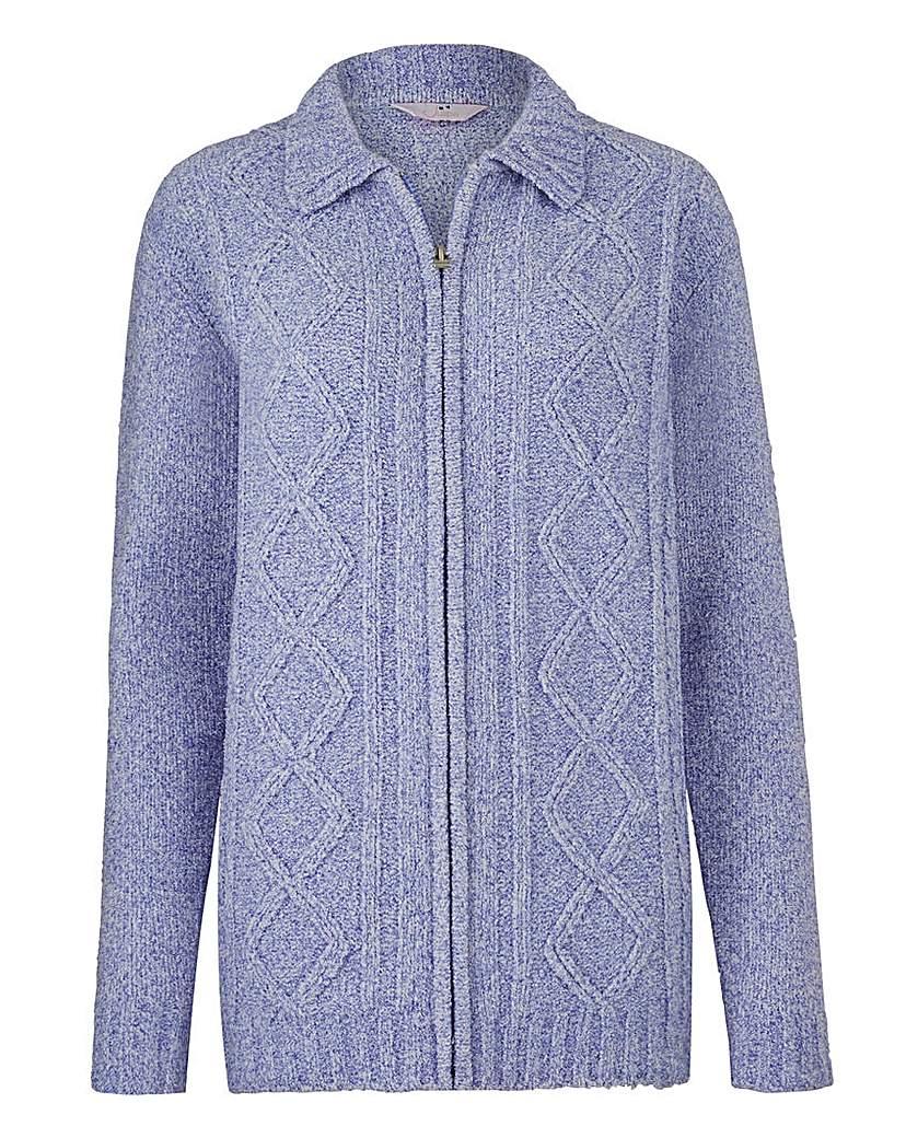Retro Vintage Sweaters Chenille Zip-Through Cardigan £18.50 AT vintagedancer.com