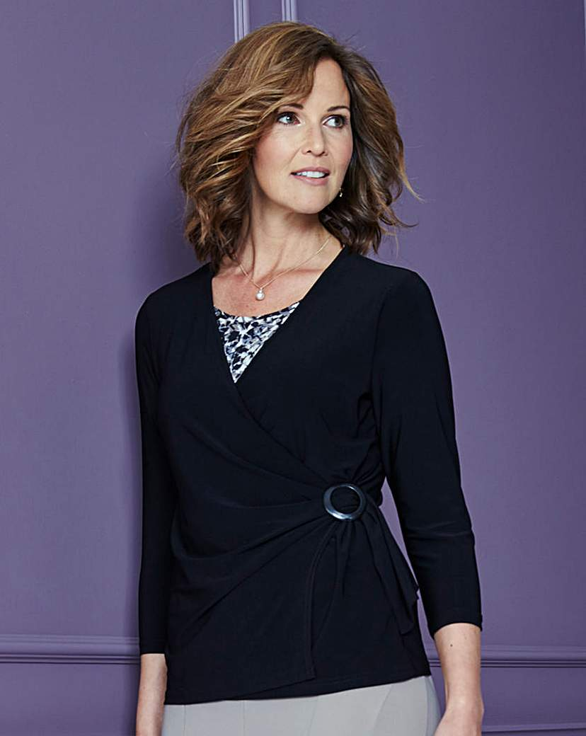 Jersey Wrap Top with Buckle Detail