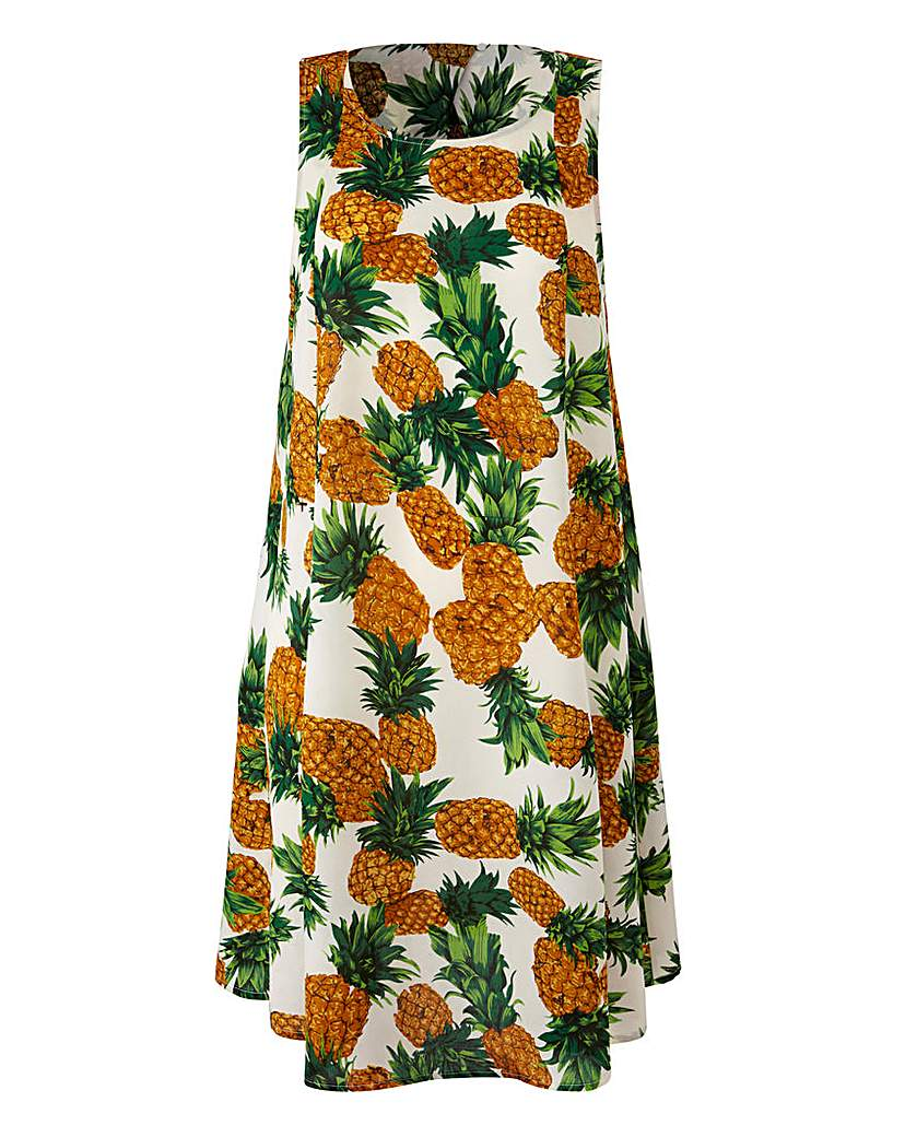 Ivory Fruit Print Sleeveless Swing Dress