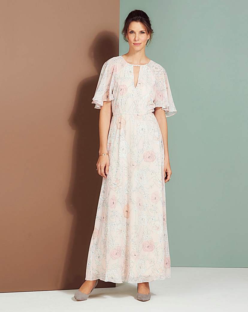 1930s Style Fashion Dresses Pink Print Floral Maxi Dress £23.00 AT vintagedancer.com
