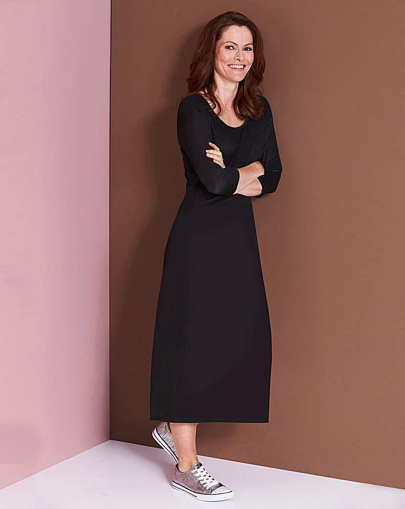Plain Black Jersey Midi Dress - L45
