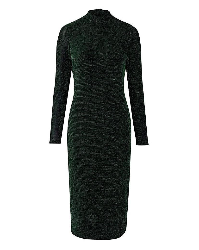 Green/Black Glitter Jersey Midi Dress