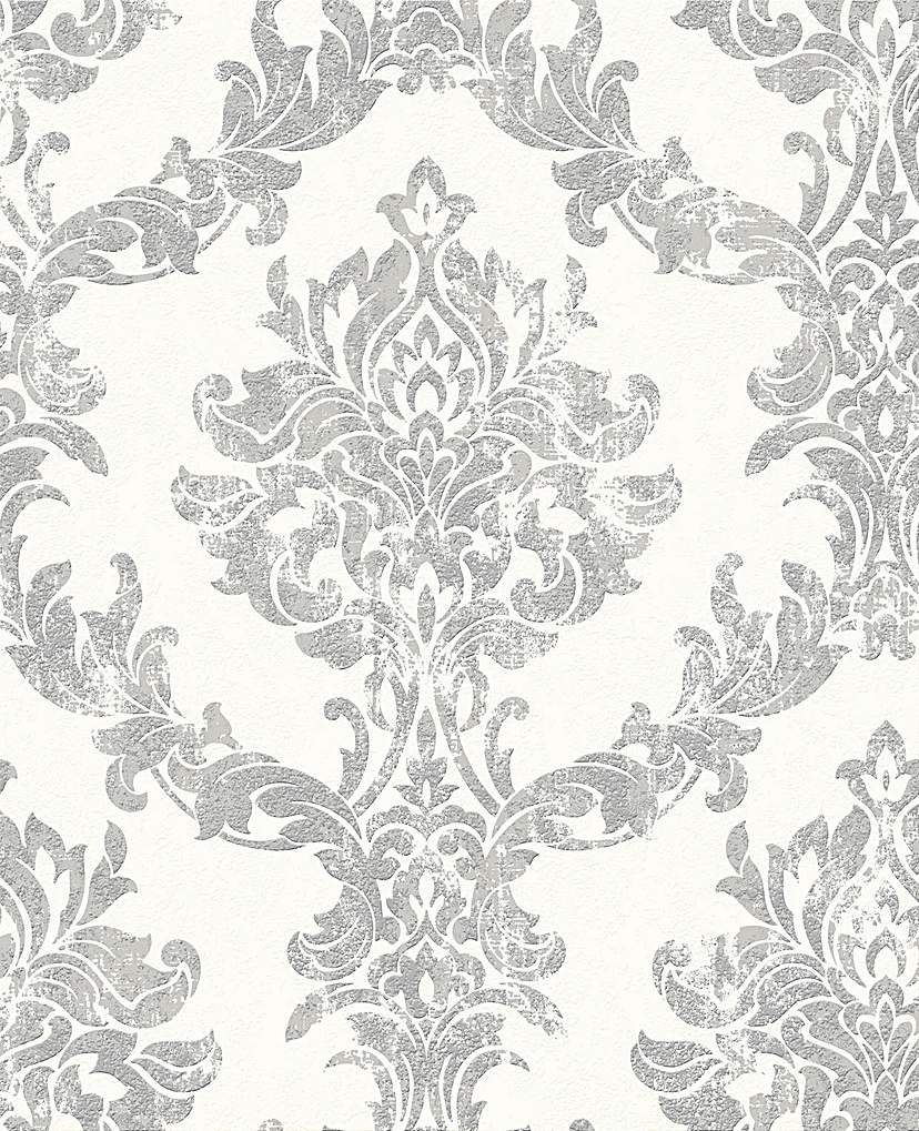 Image of Opal Damask White / Silver