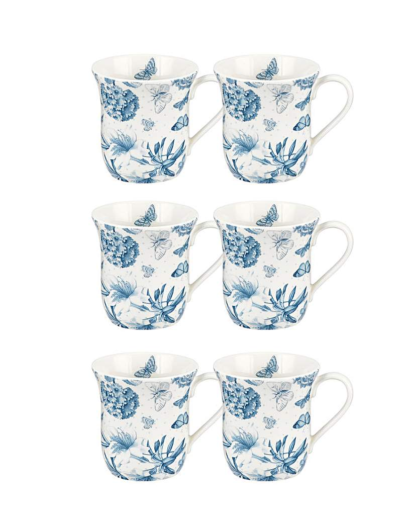 Portmeirion Botanic Blue  Mug Set Of 6