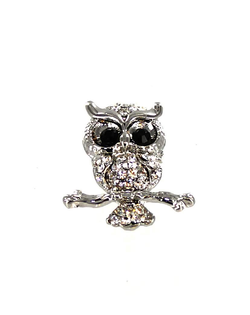 Diamante Owl Brooch