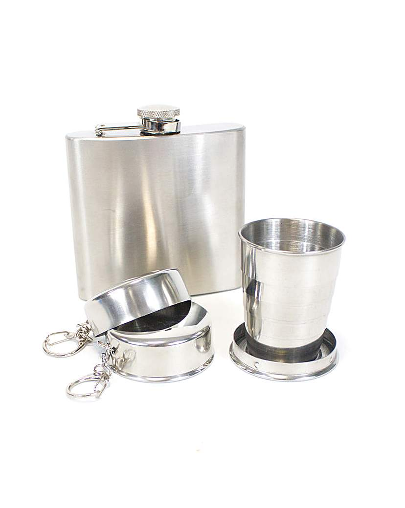 Yellowstone Hip Flask Packable Cup Set