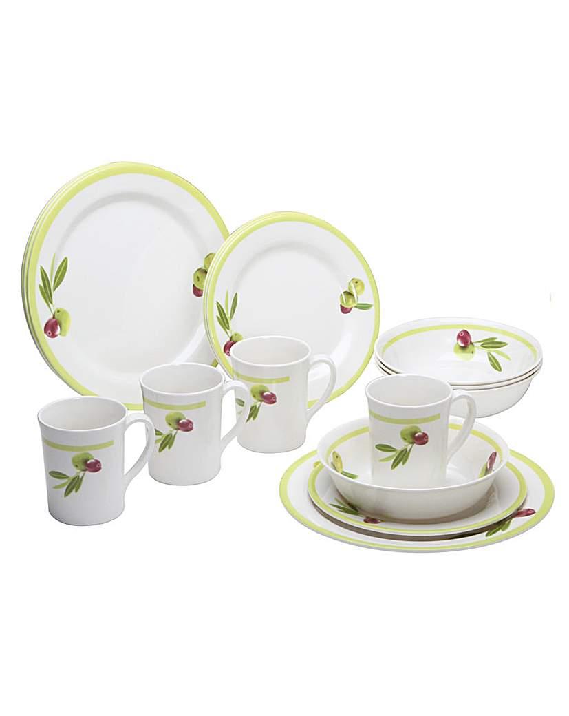 Sorrento Olive 16 Piece Tableware set