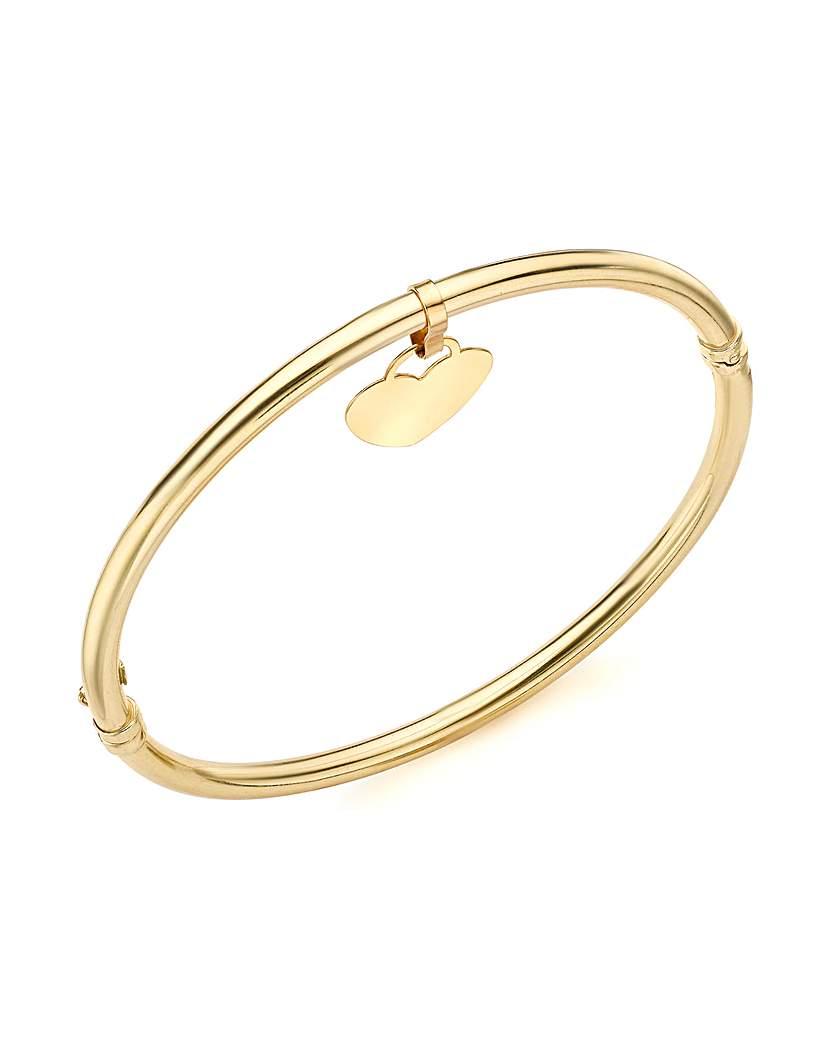 9ct Gold Dangle Heart Bangle