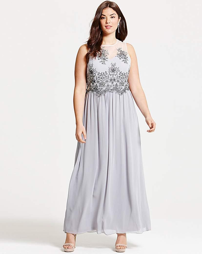1920sPlusSizeDresses Little Mistress Grey Mesh Maxi Dress £75.00 AT vintagedancer.com