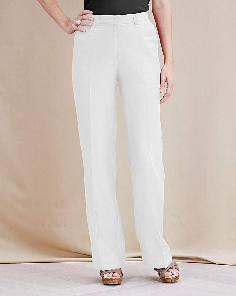 Image of Petite JOANNA HOPE Linen-Blend Trousers