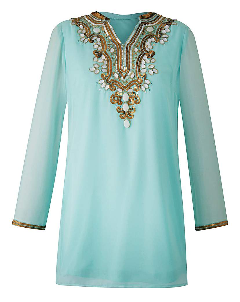 Joanna Hope Longline Bead-Trim Blouse £45.00 AT vintagedancer.com