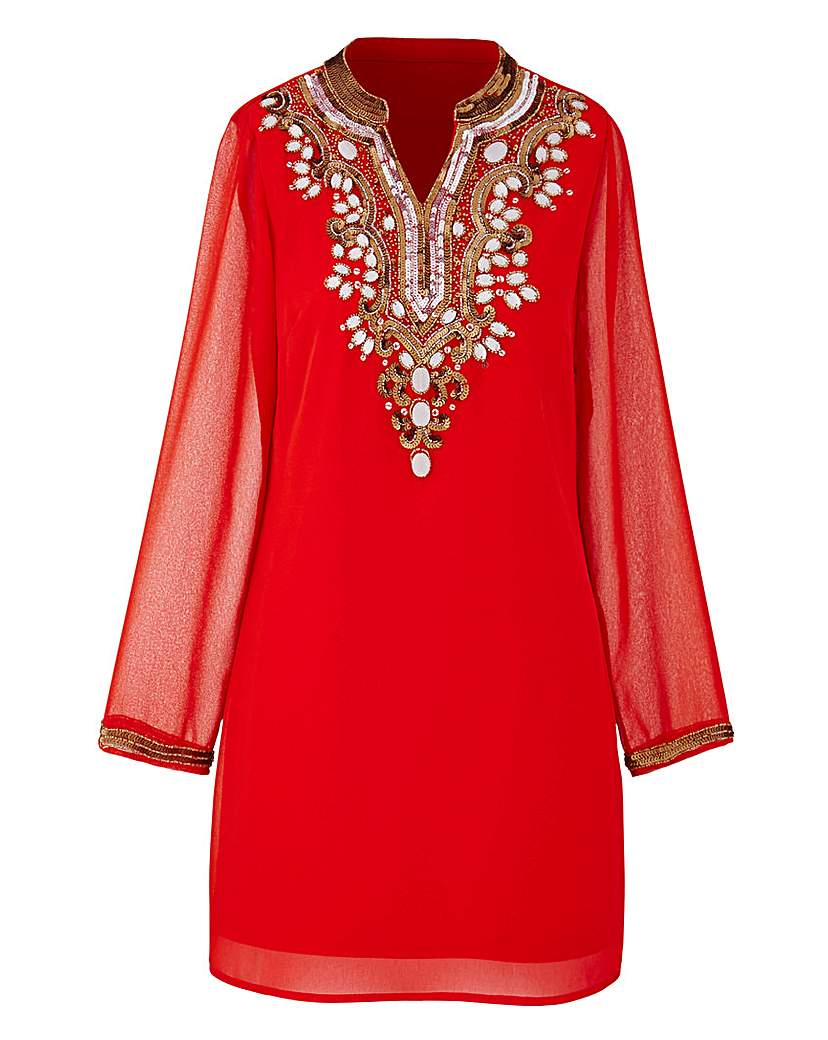 1920s Style Blouses, Tops, Sweaters, Cardigans Joanna Hope Longline Bead-Trim Blouse £75.00 AT vintagedancer.com