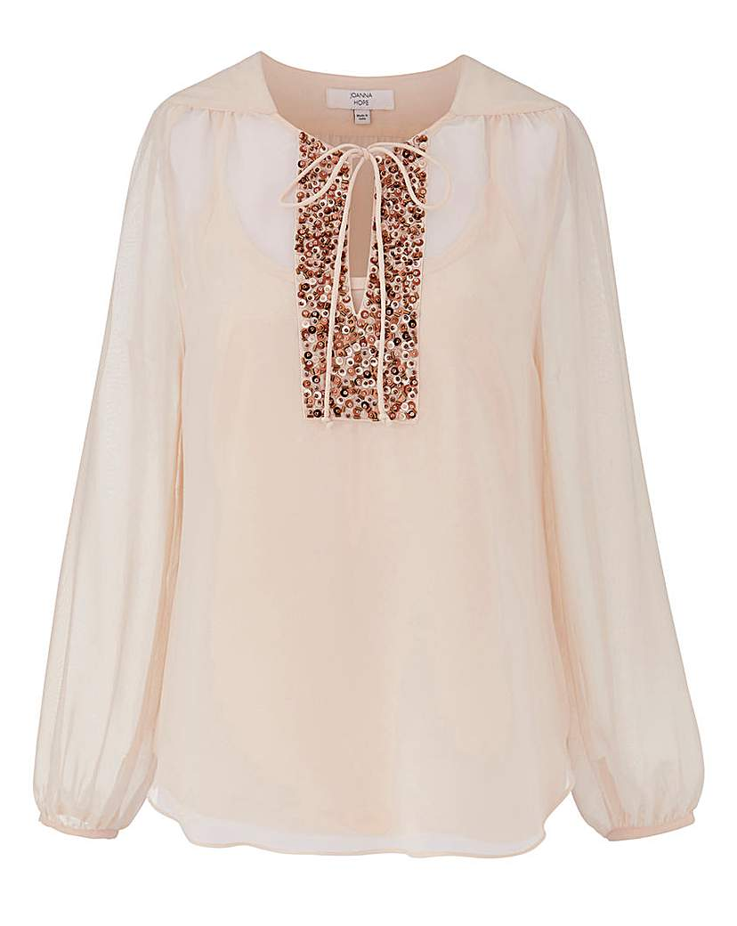 1920s Style Blouses, Tops, Sweaters, Cardigans JOANNA HOPE Sequin Detail Blouse £11.50 AT vintagedancer.com