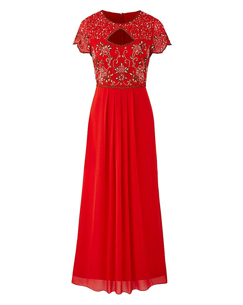 Formal Edwardian Gowns JOANNA HOPE Bead Trim Maxi Dress £50.00 AT vintagedancer.com