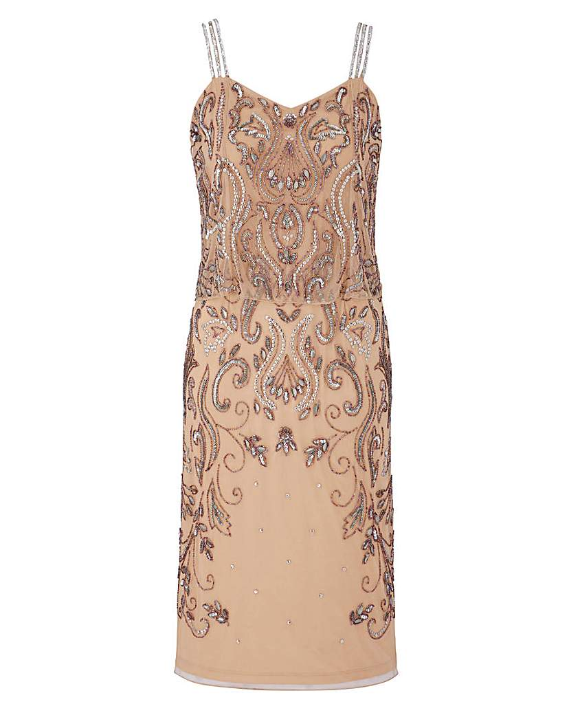 JOANNA HOPE Beaded Overlay Dress £120.00 AT vintagedancer.com