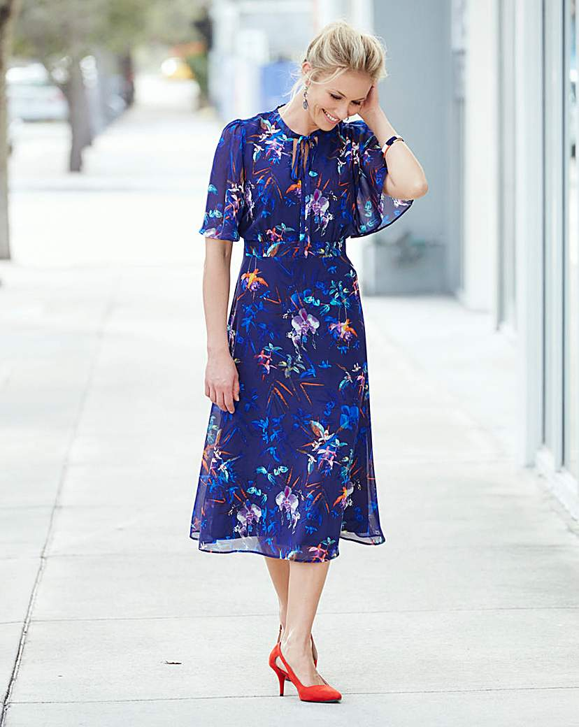 1930s Style Day Dresses JOANNA HOPE Print Dress £49.00 AT vintagedancer.com