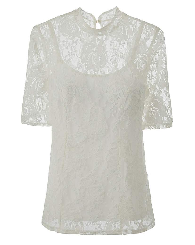 Edwardian Style Blouses JOANNA HOPE Lace Top £35.00 AT vintagedancer.com