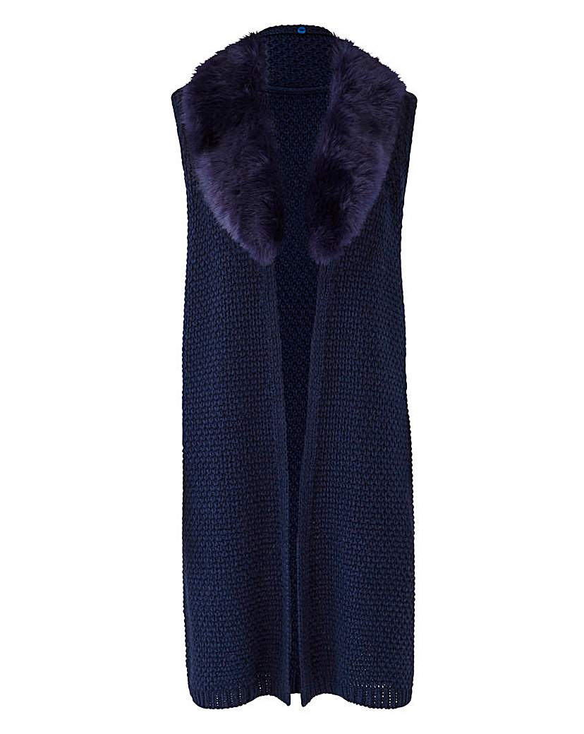 JOANNA HOPE Fuax Fur Trim Gilet
