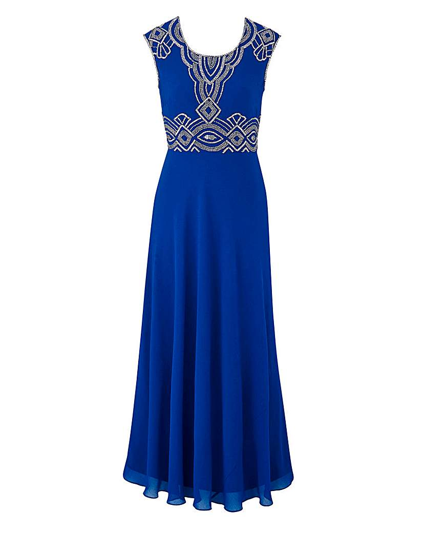JOANNA HOPE Bead Trim Maxi Dress £105.00 AT vintagedancer.com
