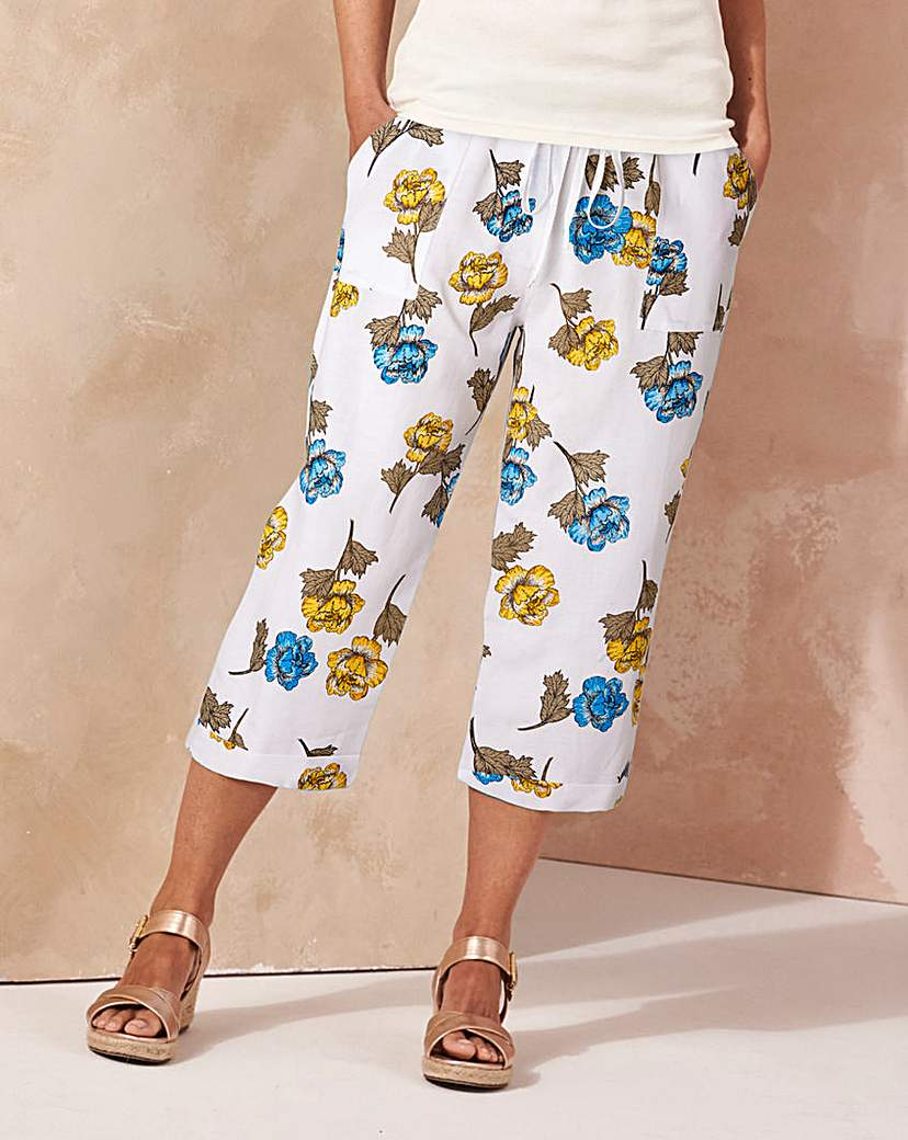 Image of Print Slouch Linen Mix Crop Trousers