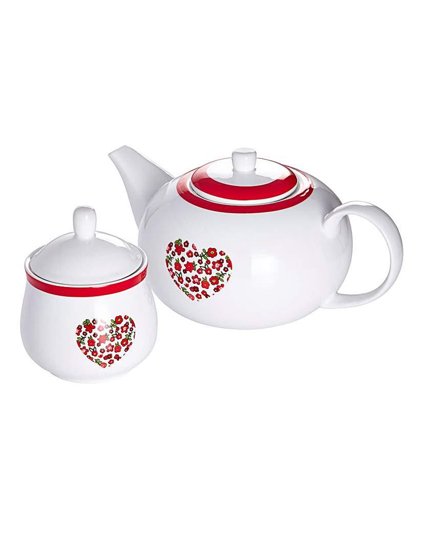 Red Folk 3Piece Tea Pot Set