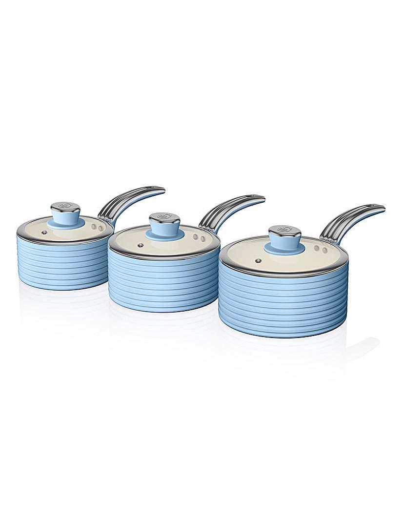 Image of Swan Retro Ceramic Saucepans Set of 3