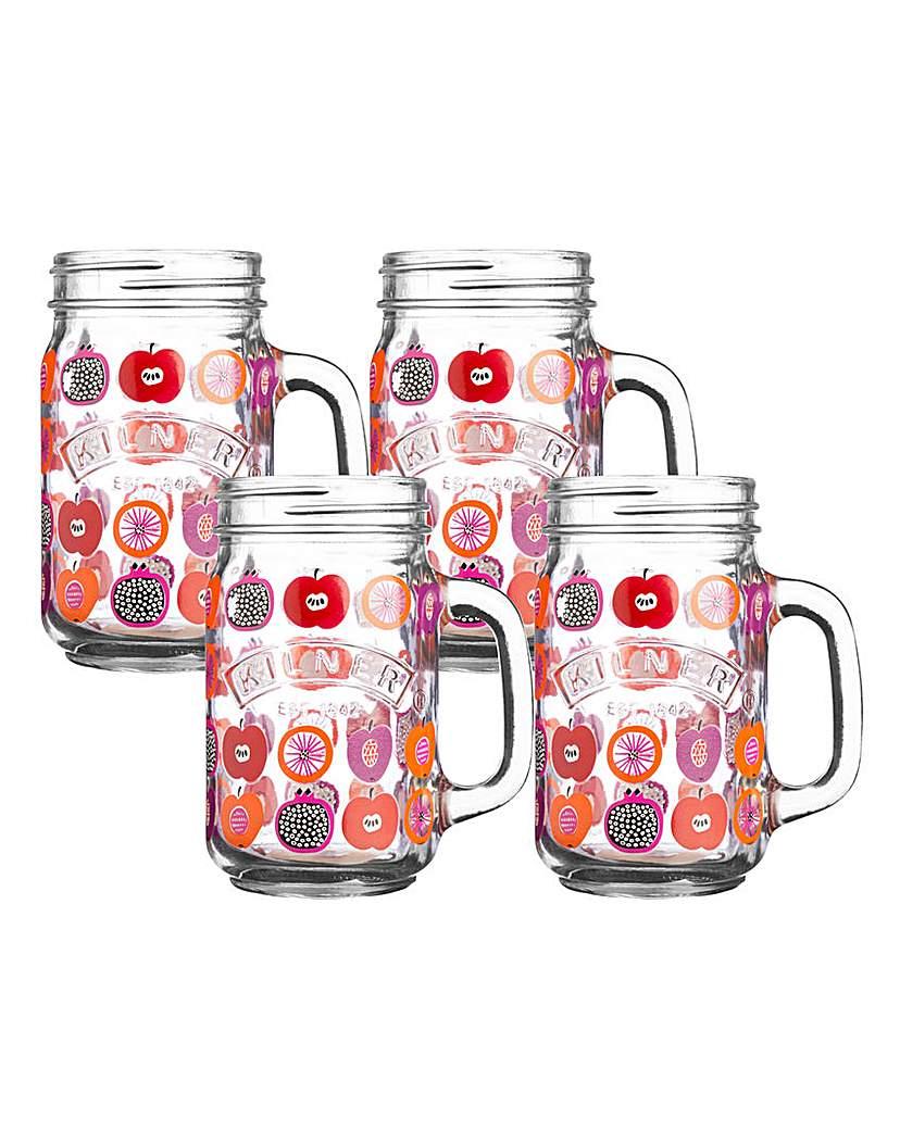 Image of Kilner 0.4 Litre Fruits 4pk Handled Jars