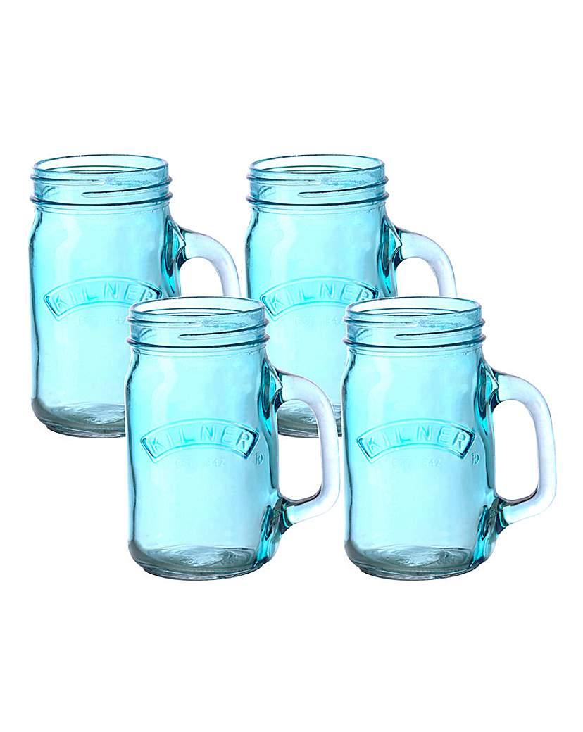 Image of Kilner Set of 4 Handled Jars Blue