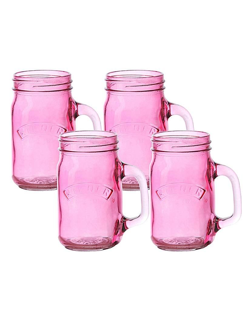 Kilner Set of 4 Handled Jars Pink.