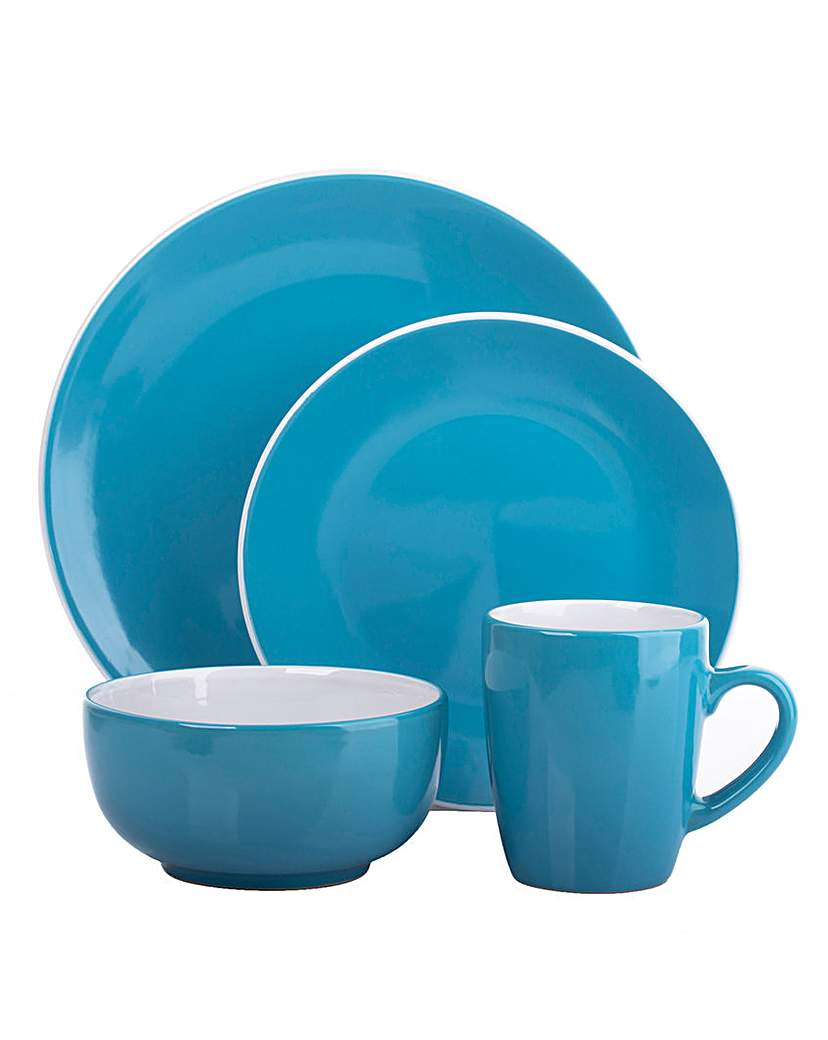 16-Piece Two Tone Dinner Set Teal
